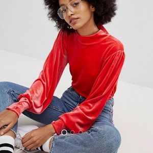 PIECES FROM ASOS velvet puff sleeve top